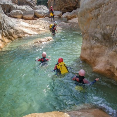 54856096 - canyoning in barranco oscuros, sierra de guara, aragon, spain